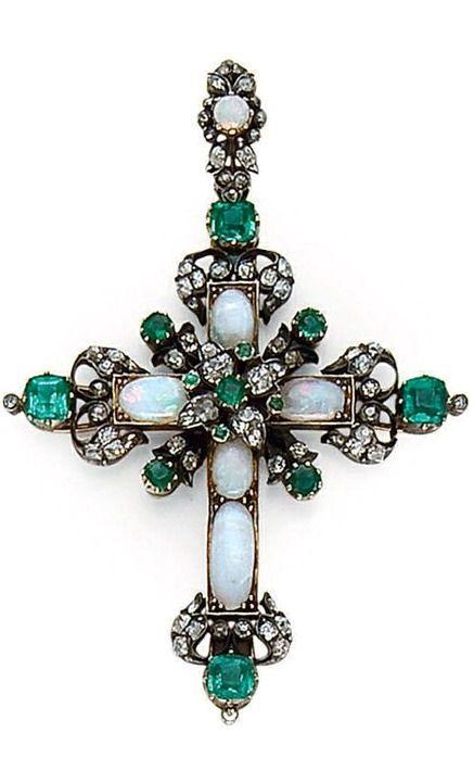 A LATE 19TH CENTURY OPAL, EMERALD, DIAMOND, SILVER AND GOLD CROSS PENDANT. #OpalCross