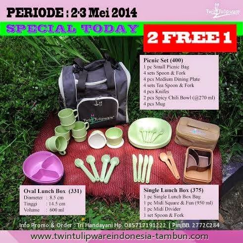 Promo 2 Free 1 #Tulipware tanggal 2 - 3  Mei 2014 :  Oval Lunch Box | Picnic Set | Single Lunch Box