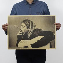 Бесплатная доставка, Курт Кобейн/Nirvana фронтмен/рок плакат/крафт-бумага/Кафе/бар плакат/ретро Плакат/декоративная живопись 51x35.5 см(China (Mainland))