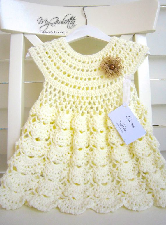 Bebé vestido del ganchillo traje de la muchacha de por MyGiulietta