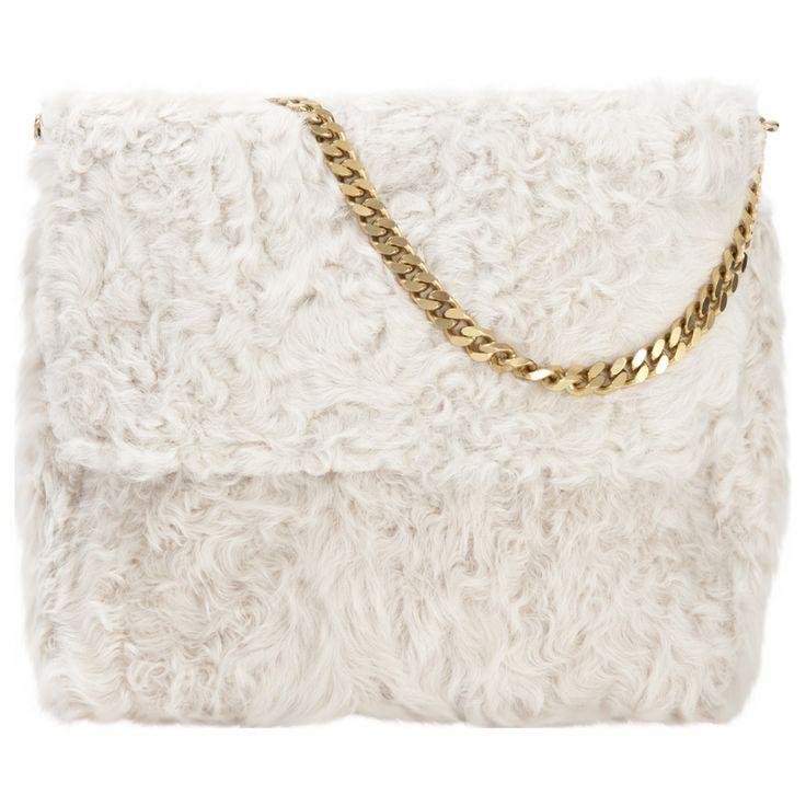Céline White Fur Handbag Gourmette    Vestiaire Collective