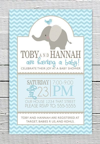 Custom Baby Blue Shower Invitation Printable Baby Boy Shower With
