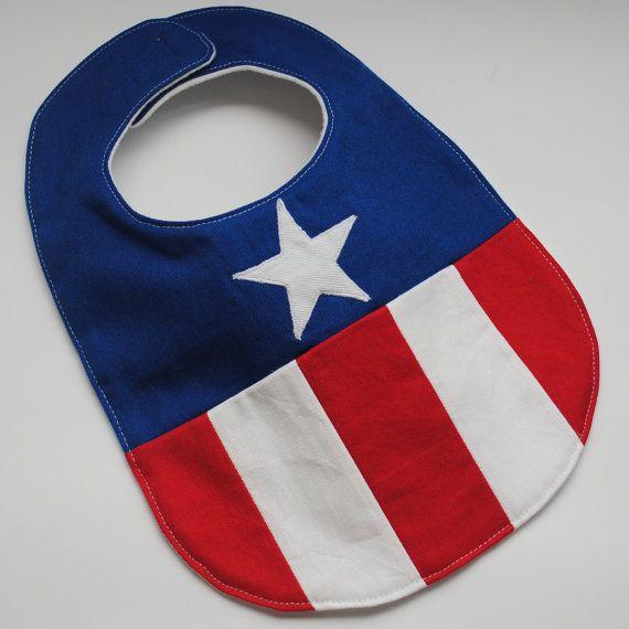 Captain America Baby Bib by GeorgiaRoseCrafts on Etsy                                                                                                                                                      More