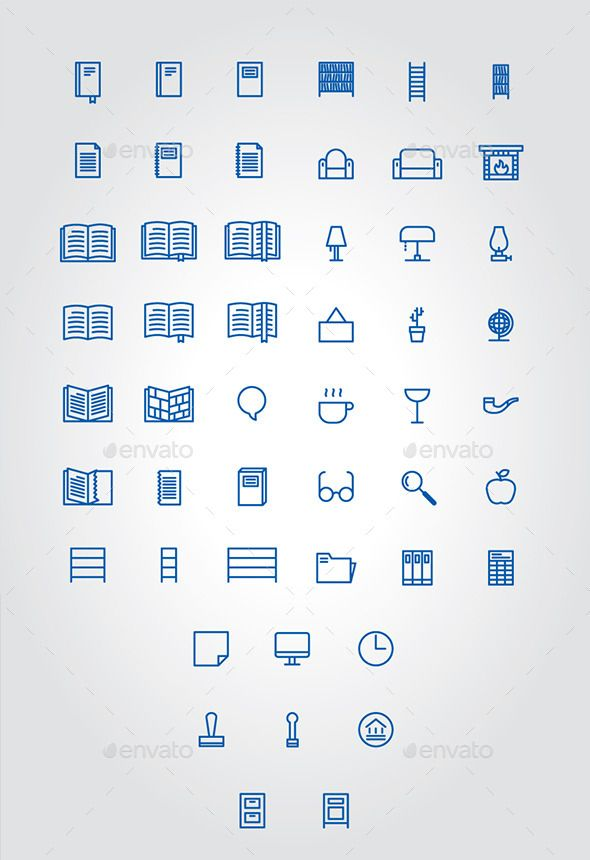 Home and Public Library Icons | Download: http://graphicriver.net/item/home-and-public-library-icons/10316362?ref=ksioks