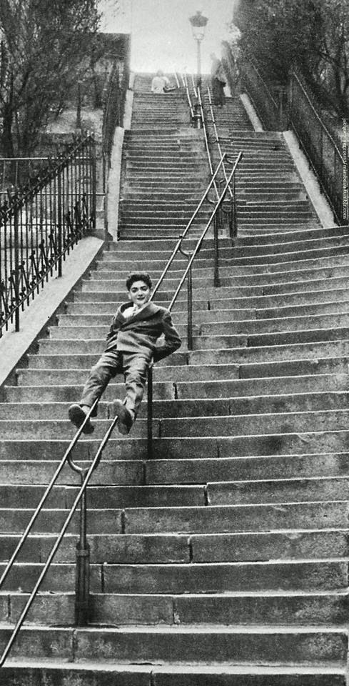 Escaliers du Square Caulaincourt Montmartre, Paris, 1950s by Jacques Verroust..Pinterest..