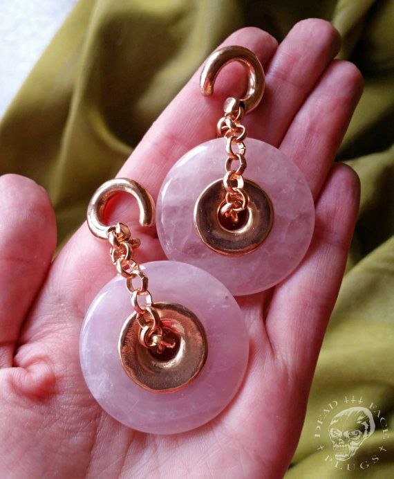 Decorative Ear Weights : Rose quartz donut ear weights by deadfaceplugs on etsy