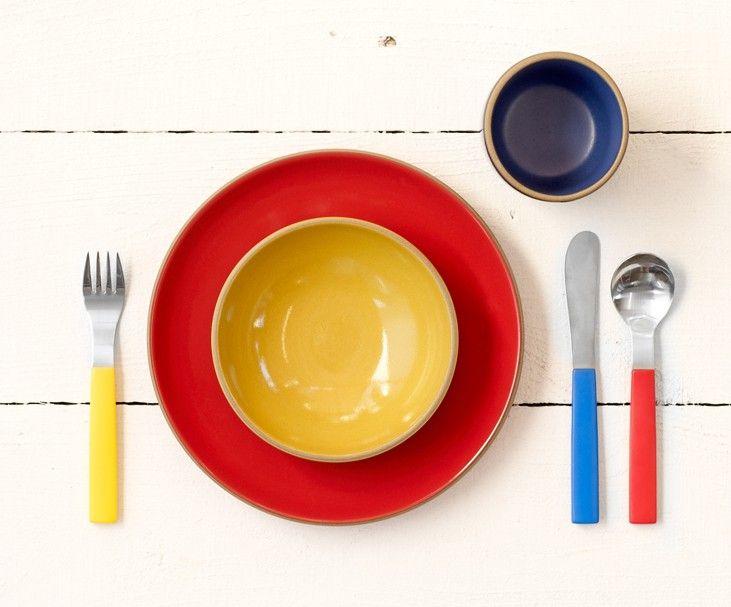 David Mellor Child's Cutlery Set + Heath Ceramics tableware. #brightcolours #tabletop #primarycolours #tableware #childscutlery