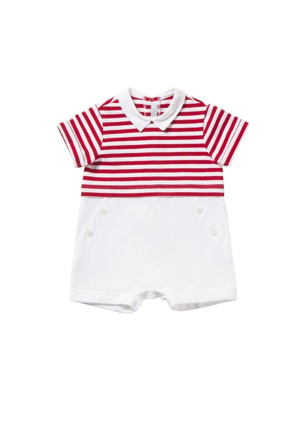 Italian Luxury RED AND WHITE STRIPED SHORT JERSEY PLAYSUIT   Il Gufo