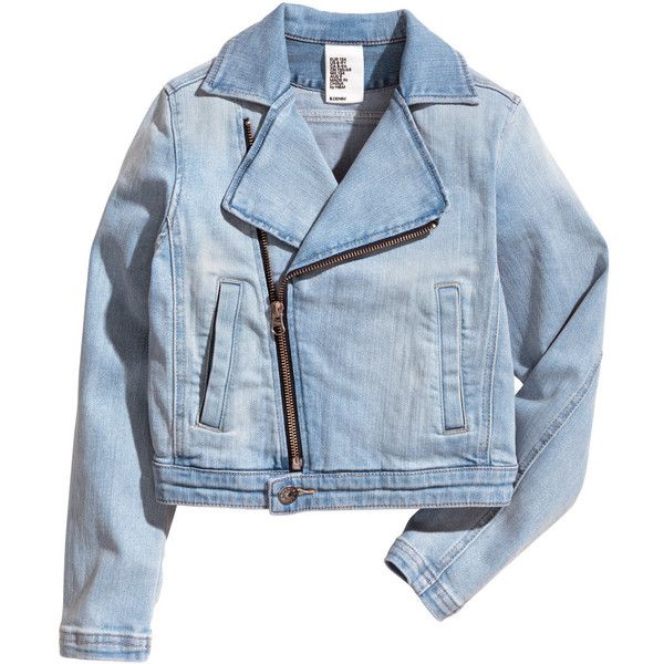 Denim biker jacket $39.95 ($40) ❤ liked on Polyvore featuring outerwear, jackets, tops, coats & jackets, denim biker jacket, blue motorcycle jacket, blue moto jacket, denim jackets and zipper jacket