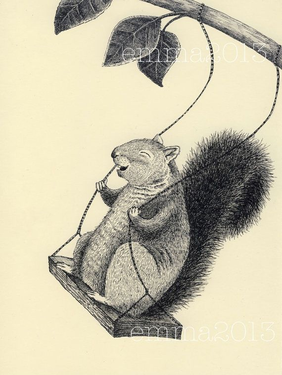 copyright © 2013 Emma Weisman    An enthusiastic swinging squirrel!    cream with black ink  8x10  Printed on Archival Acid-free paper