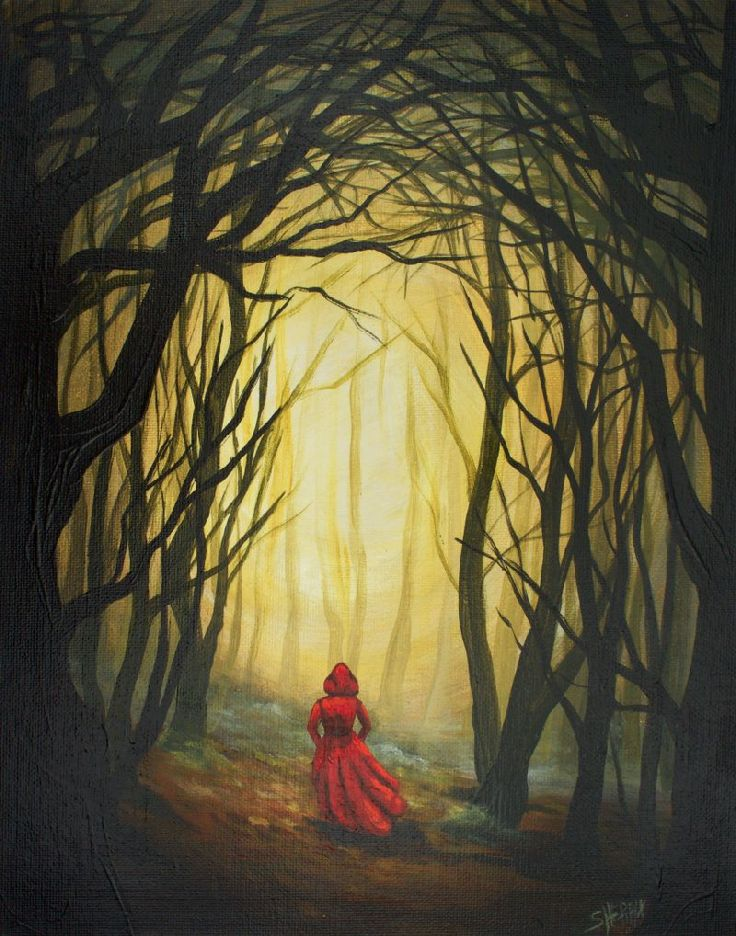 Learn to paint Red riding hood in a dark forest with Glow  with an apple acrylic painting tutorial