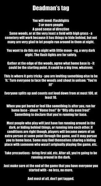 Deadmans tag.... scary as hell but also very interesting. Anyone up for this?