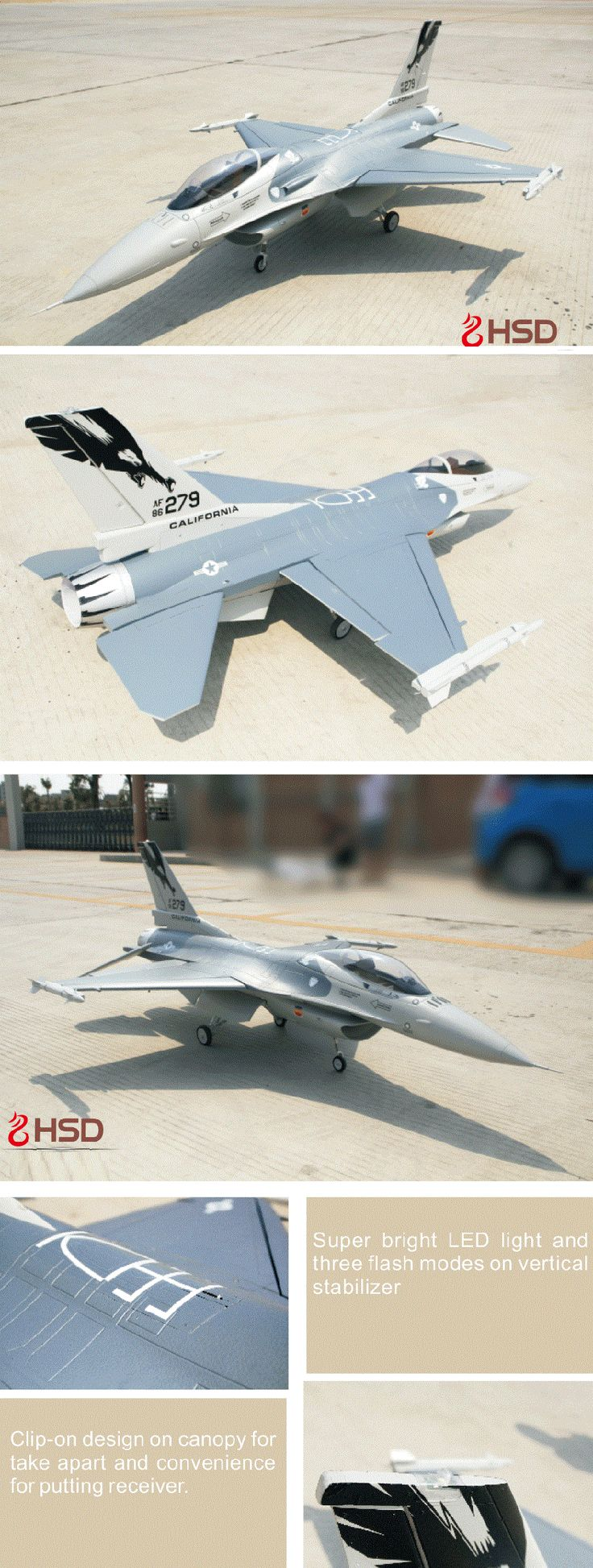 Upgraded HSD Gray Fighting Falcon 7CH F-16 F16 105mm 12S 150A RC EDF Jet Sale - Banggood.com