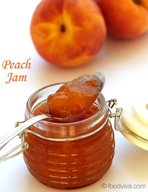 This peach jam canning recipe with step by step photo guide is very simple - sugared peach pieces are drizzled with lemon juice and then simmered until thick and then jam filled jars are given a boiling water bath.