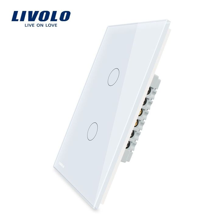 Livolo Wall Switch 110~250V Ivory White Glass Panel 2 Gang Us Touch Light Switch Vl-C502-11W/ Led Indicator