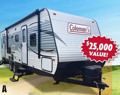 Enter the Camping World's Off to Adventure Sweepstakes, you could win a Coleman trailer worth over $26,000.00. Submit your entry or enter in-store at any participating Camping World location.