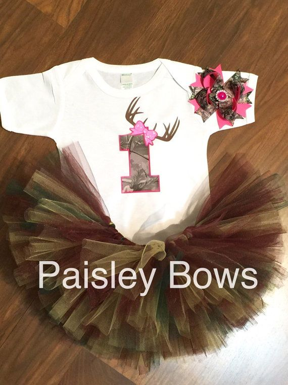 First birthday Camo tutu set by PaisleyBows on Etsy