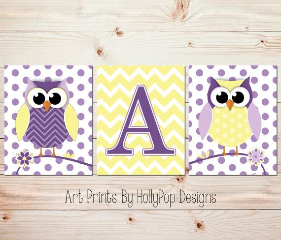 Nursery Trio Wall Decor-Cute Woodland Owl Nursery Prints-Purple Yellow Wall Decor-Monogram Print-Chevron Polka Dot-Modern Nursery Prints-636 on Etsy, $33.00