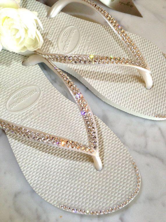 Crystal Tip Wedding Flip Flops - Havaianas Slim Style with Swarovski Crystals and Crystals Tip on Etsy, $68.30