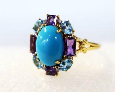 Modern Turquoise Amethyst Blue Topaz Diamond Ring #turquoise #modern