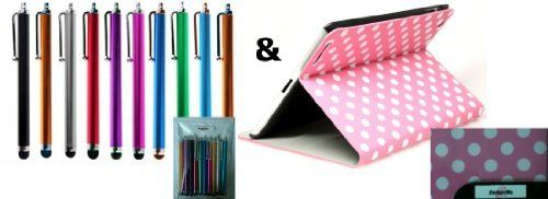 GadgetMe Brands® 10 Colorful Stylus Universal Touch Screen Pen for Kindle Fire Ipad 1 2 3 Ipod Iphone 4 4S 3g 3gs Motorola Xoom Samsung Galaxy Tab 8.9 10.1, Blackberry Playbook HTC Flyer Evo View Tablet + Pink and White Polka Dot Pattern PU Leather Case For Apple iPad 2 Plaid Polka Dots Pattern Folio Leather Tartan Style Smart Cover Case With Inner Hard Armor Case/Base Pink White - With Gadg.... $19.99. CONTENT// In GadgetMe Brands® retail packaging:  GadgetMe Brands...