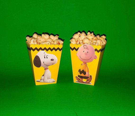 Charlie Brown Inspired Popcorn Boxes These little single serve snack boxes are a cute addition to your food table and are a great way to pull the theme together.