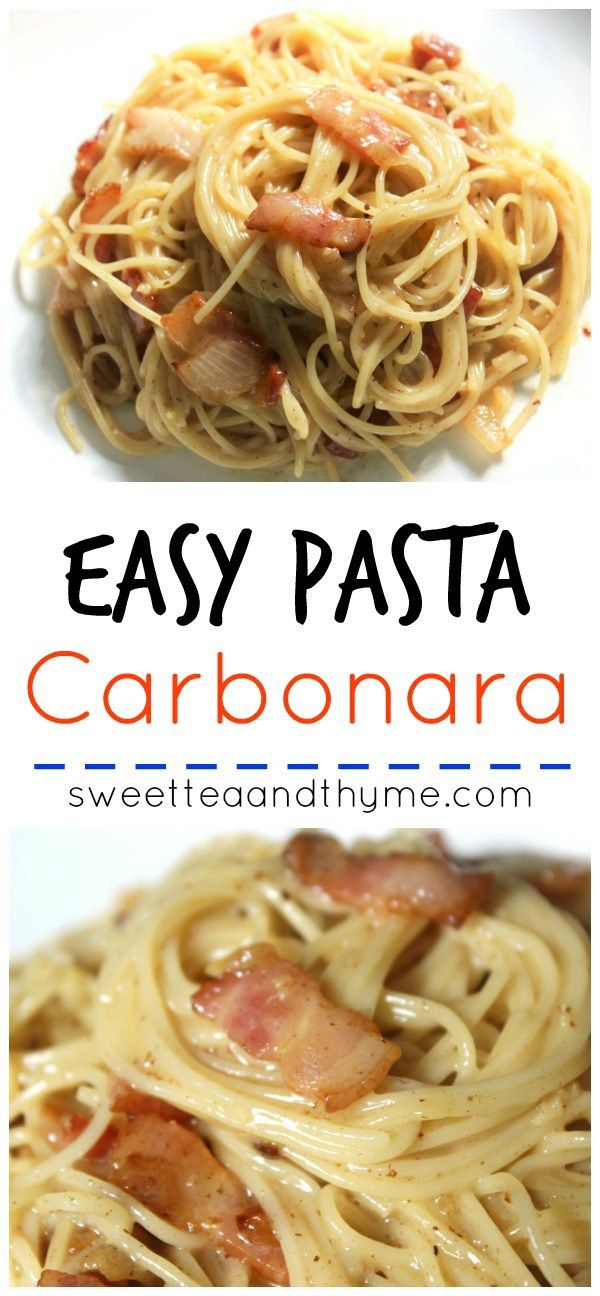 Pasta Carbonara, an easy 20 minutes dish full of bacon and a creamy, rich sauce. Everyone loves it. I mean, who doesn't love bacon?