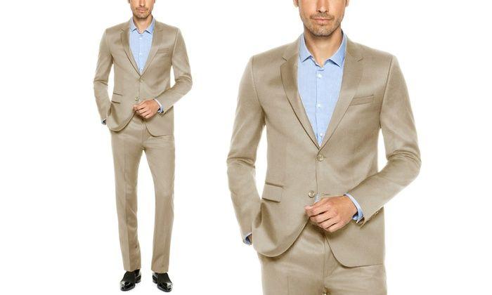 Verno Men's Slim-Fit Sharkskin Suits (2-Piece): Verno Men's Slim-Fit Sharkskin Suits (2-Piece)