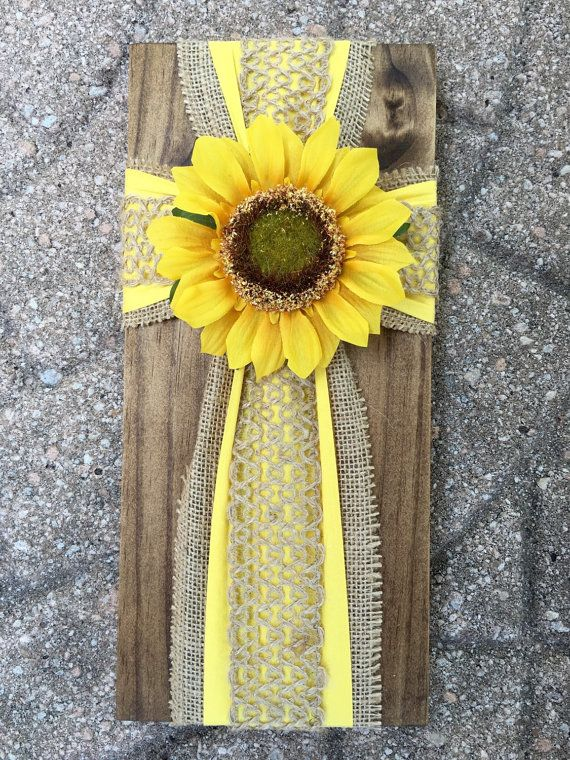 Handmade Cross on Pine  Sunflower on burlap by CustomCrossDecor