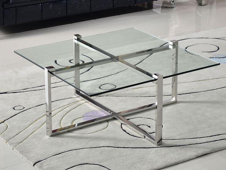 i rustfritt og polert stål med 1 cm tykk bordplate i herdet klart glass.Art nr: CO0172Serie: SliverlineDimensjoner (cm): B:100 x D:100 x H:45Materiale: Vi benytter rustfritt stål grad 202 i denne modellen.