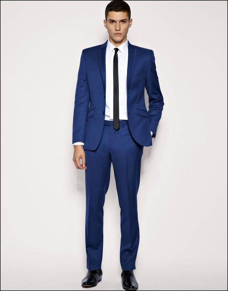 black suit and blue tie - photo #38