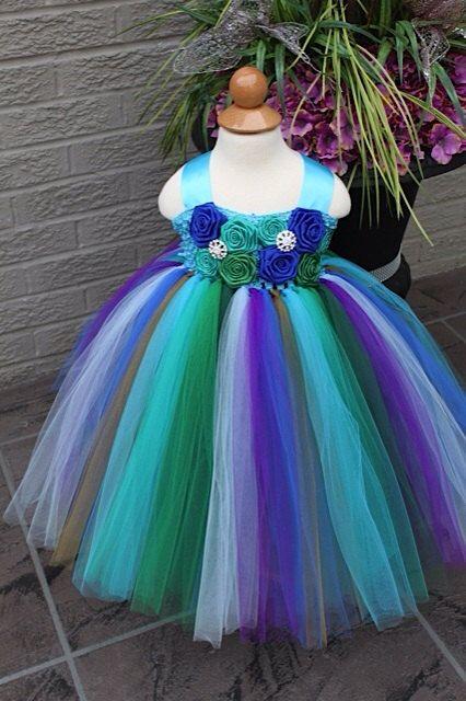 Peacock Tutu Dress- Peacock Inspired Dress- Flower girl Dress- Peacock Flower girl dress- Flower girl dresses- Tutu Dress