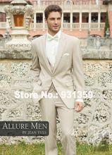 Lã de alta qualidade personalizados cáqui projeto ternos do casamento do noivo smoking 4 pedaços SHX73106 mens terno creme(China (Mainland))