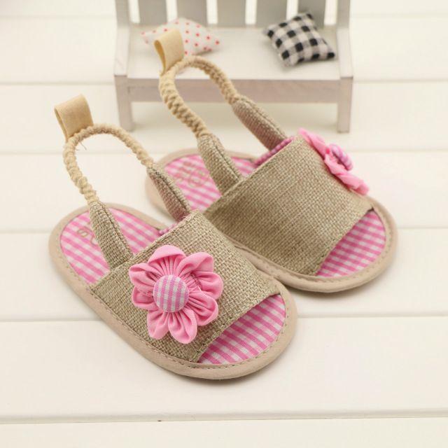 Verão fresco rosa natural de linho mulheres sandálias sapatos, Menina primeiro walkers, Chinelos bebê infantil