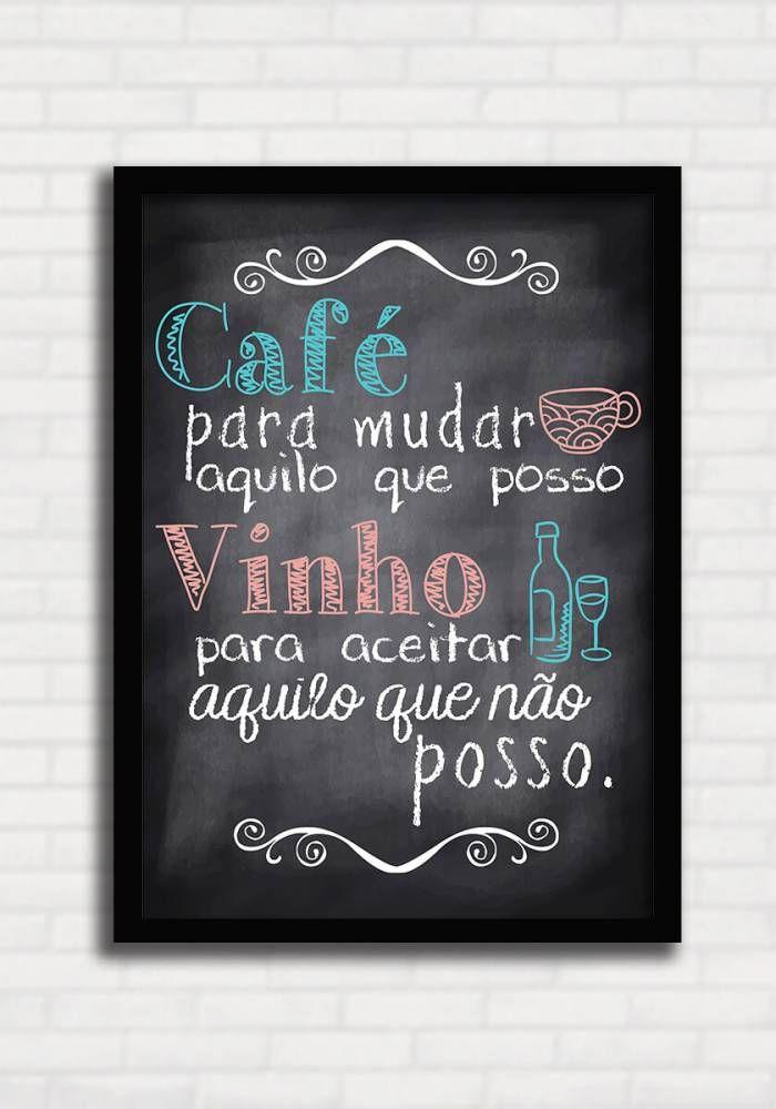 Poster Gourmet tipo Lousa - Café e Vinho - Sabrina Matias
