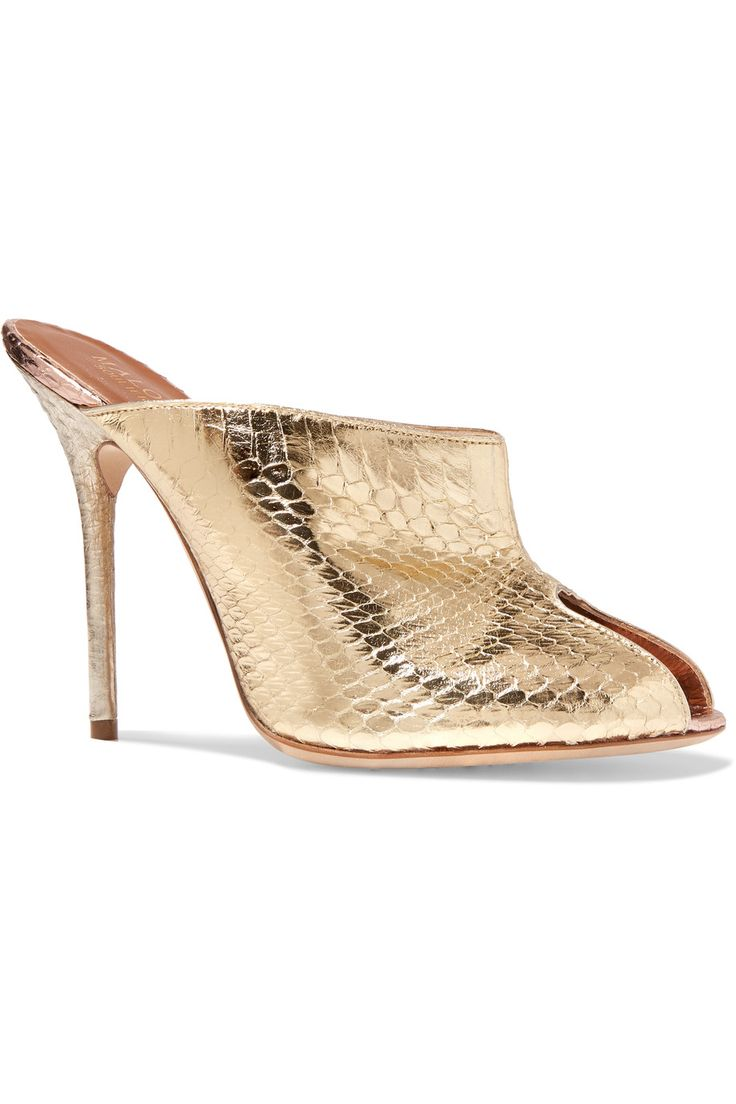MALONE SOULIERS Designer Shoes, Mika Satin and Mirror Nappa High Heel Sandals