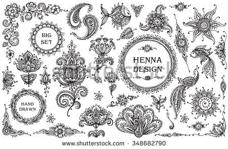 Big vector Set of henna floral and animal elements and frames based on traditional Asian ornaments. Paisley Mehndi Tattoo Doodles collection  - stock vector
