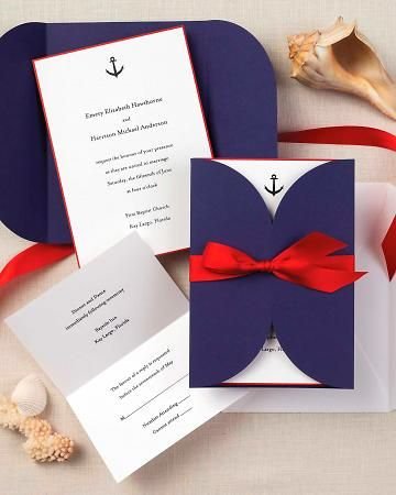Blue-and-Red Invitation    This thermography-printed suite features a festive anchor. Forgo the traditional inner envelope and choose suite that includes a paper wrap and satin ribbon.