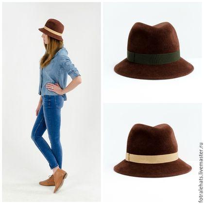 Шляпы ручной работы. Шляпа федора рыже-коричневого цвета. Марина Александрова. Ярмарка Мастеров. Шляпа женская, федора