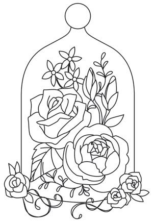 This lush arrangement of flowers is begging to be stitched in bright colors on home decor, accessories, and more! Downloads as a PDF. Use pattern transfer paper to trace design for hand-stitching.