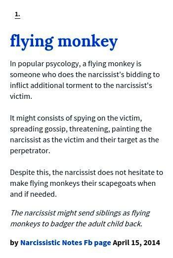 FLYING MONKEY - in popular psychology, a FLYING MONKEY is someone who does the narcissist's bidding to inflict additional torment to the narcissist's victim. It might consist of spying on the victim, spreading gossip, threatening, painting the narcissist as the victim & their target as the perpetrator. Despite this, the narcissist does not hesitate to make FLYING MONKEYS their scapegoats when & if needed. The narcissist might send siblings as FLYING MONKEYS to badger the adult child back.