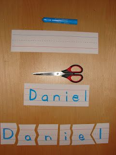Name Puzzles. Do each kid's name in a different color and keep 5 or 6 names in an envelope. (This would be good for kids learning the names of the other kids in their reading group). Can also add a picture to it.
