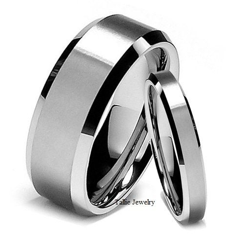 his hers mens womens matching 14k white gold wedding bands rings set beveled edge 8mm - His And Hers Wedding Rings Cheap