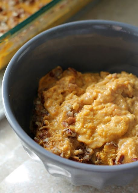 BREAKFAST PUMPKIN CUSTARD - 13.5 oz can of full fat coconut milk, 1/2 cup chopped pecans, or other nut you like; 2 very ripe bananas (or sweetener), 3 T almond butter, or almond meal; 4 eggs, cinnamon or Pumpkin Pie Spice to taste, 15 oz can pumpkin puree. Bake 350 for 30 min.