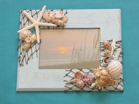 blue seashell photo frame shell picture frame beach decor beach frame nautical decor 5x7 frame coastal decor shabby chic