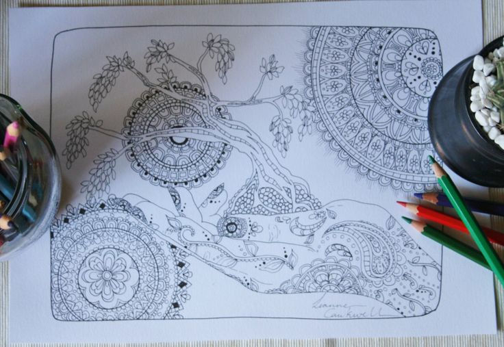 "Mandala Original Adult Coloring Book Page ""Hena"" by LeanneCaukwellArt on Etsy"