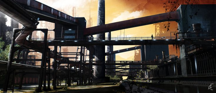 The yet unnamed Qwib homeworld is very industrial in its best parts, and extremely run down, decrepit, and unsanitary at its worst.    - Industrial Landscape - by ~Winerla on deviantART