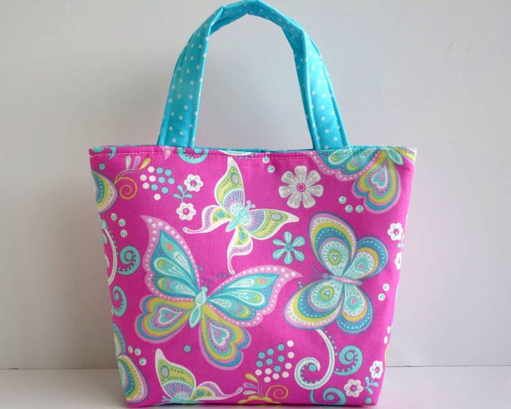 Girl's Bag, Mini Tote Bag, Kids Bag, Handbag for Girls, Pink Buttefly Bag, Pink & Turquoise, Bright Fabric Bag, Pretty Girls Bags, Pink Tote by RachelMadeBoutique on Etsy https://www.etsy.com/au/listing/521294776/girls-bag-mini-tote-bag-kids-bag-handbag