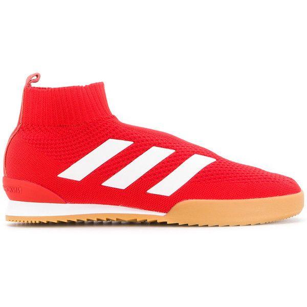 Gosha Rubchinskiy Gosha Rubchinskiy x Adidas stripe detail sneakers ($265) ❤ liked on Polyvore featuring men's fashion, men's shoes, men's sneakers, red, mens sports shoes, mens red sneakers, mens red shoes, mens sport shoes and mens round toe dress shoes
