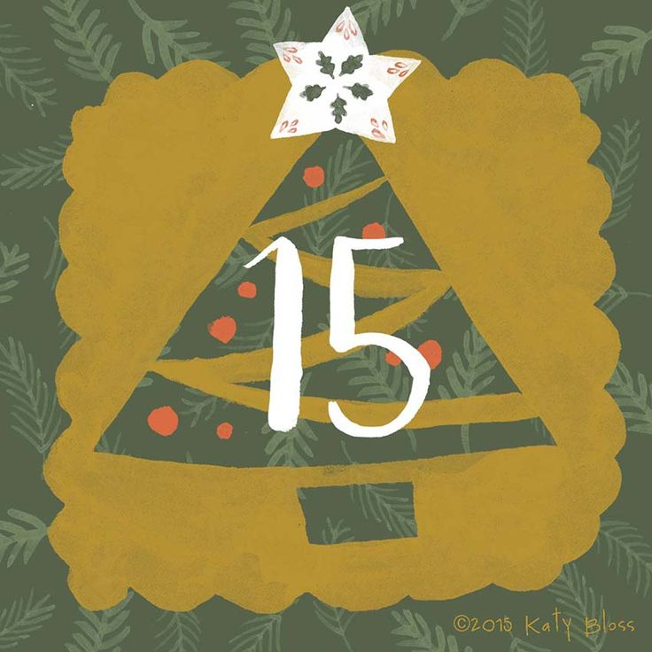 Christmas tree illustration for day 15 of an illustrated advent calendar by Katy Bloss.